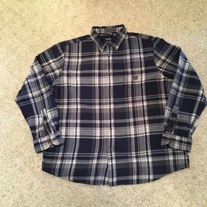 Chaps Navy/Gray Plaid Brushed Flannel Shirt